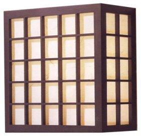 "12""h. Black Wooden Checkered Frame Dofu Japanese Wall"
