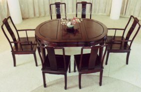 Carved Oval Oriental Dining Room Table Set