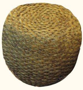 "18"" H. Water Hyacinth Weave Asian Round Stool"