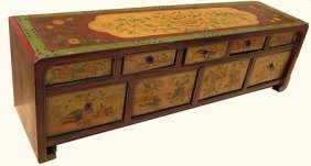 Hand Painted Tibetan Lowboy Cabinet.