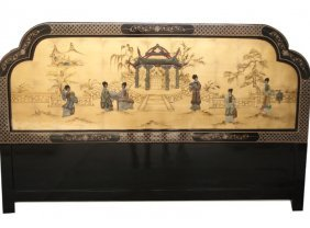 Gold Leaf Oriental Head Board With Mother Of Pearl