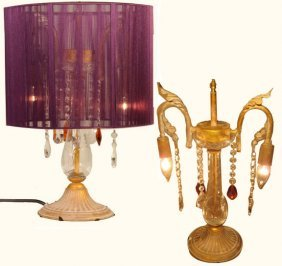 "19"" H. Chinese Silk Shanghai Crystal Table Lamp"