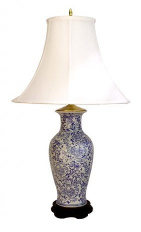 "30"" H. Blue And White Porcelain Lamp With Daisy Chain"