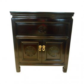 Square Rosewood Chinese End Table With Drawer And Two