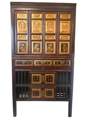 Vintage Wenzhou Chinese Carved Dish Cabinet With