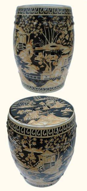 "18"" H. Black Oriental Porcelain Garden Stool Hand"