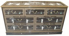Oriental Black Lacquer Dresser With Seven Drawers,