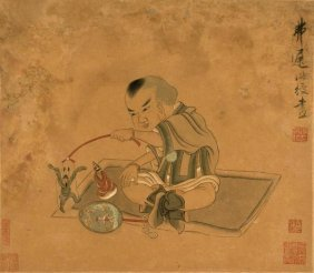Chen Hongshou - A Child Playing With Marionettes