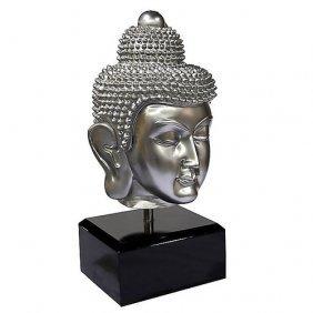Large Buddha Head On Stand -