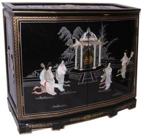 """32"""" W. Hand Painted Black Oriental Cabinet With Two"""
