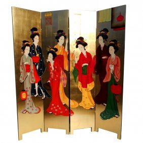 Four Panel Oriental Room Divider Hand Painted Geisha
