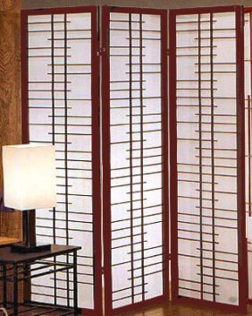Ladder Grid Oriental Folding Floor Screen