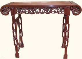 Rosewood Chinese Altar Table With Deep Dragon Carving