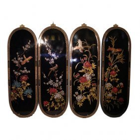 """48"""" Wide Oriental Wall Plaques Hand Painted Chinoiserie"""