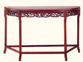 Carved Rosewood Oriental Half Moon Table
