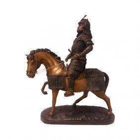 """27"""" H.bronze Japanese Samurai General On Horseback"""