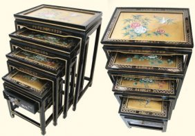 Set Of Four Oriental Nested Tables Hand Painted Bird