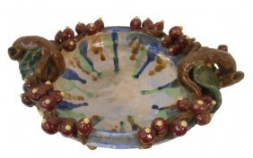 """15"""" W. Hand Carved Pinched Ceramic Table Bowl"""
