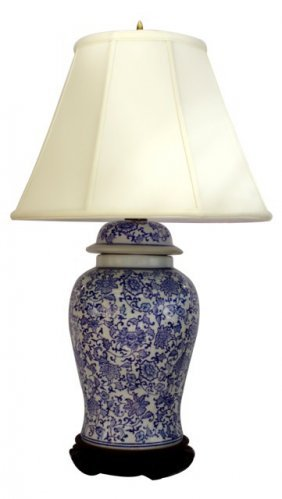 Blue And White Oriental Porcelain Table Lamp