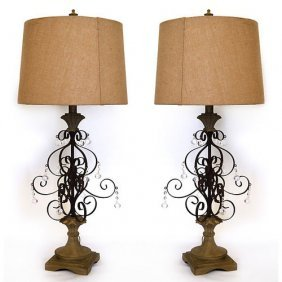 Iron & Crystal Table Lamp-s/2