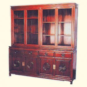 Rosewood Oriental China Cabinet Carved Long Life-