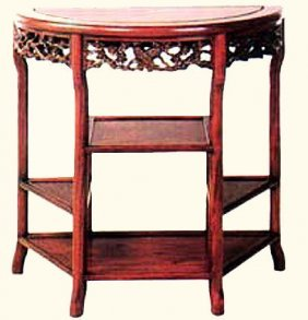 "32"" W. Dragon Carved Chinese Half Moon Table"