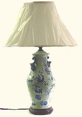 """26""""h. Light Green Chinese Porcelain Lamp With"""