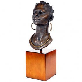 African Bust On Stand