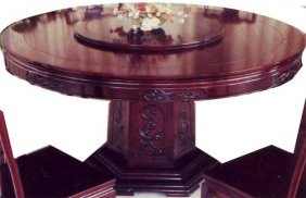 Round Oriental Dining Room Table With Lazy Susan