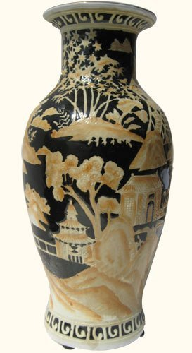 Chinese Porcelain Vase With Black & Beige Canton
