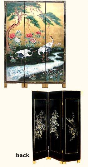 Three Panel Oriental Floor Screen Painted Cranes And