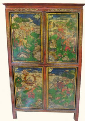 Tibetan Book Cabinet With Hand Painted Scenery