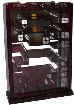 Solid Rosewood Oriental Wall Curio With Mirror Back