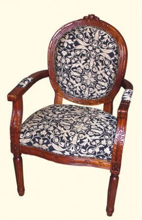 Oval Back Wooden Arm Chair