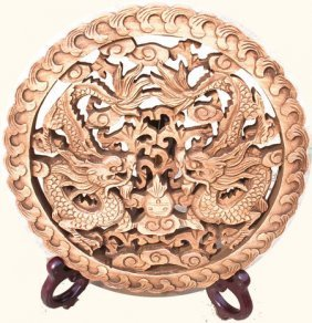 Chinese Art Camphor Wood Dragon Carving