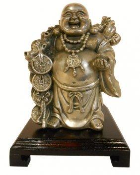White Bronze Laughing Budha Statue