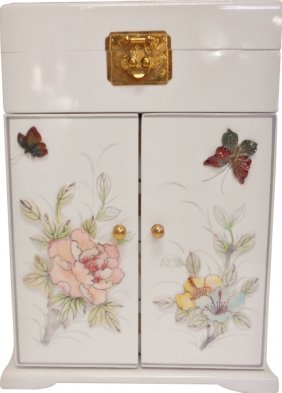 Large White Inlaid Mother Of Pearl Oriental Jewelry Box