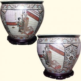 Chinese Porcelain Fishbowl Planter With Two Geishas