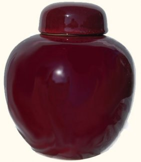 """8""""h Regal Chinese Porcelain Ginger Jar With Ox Blood"""