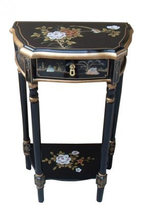 Hand Painted Black Lacquer End Table