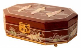 French Red Oriental Jewelry Box With Mother Of Pearl