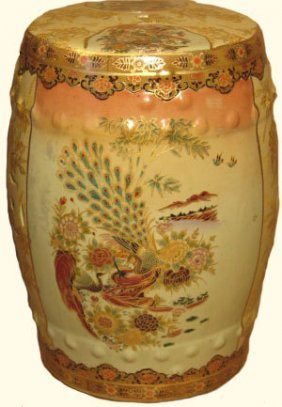 Chinese Porcelain Garden Stool With Peacock Design