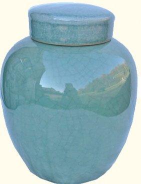 Chinese Porcelain Radish Jar With Light Celadon Glaze