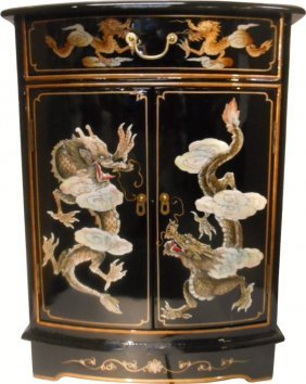 Dragon Mother Of Pearl Inlaid Cabinet With Drawer And