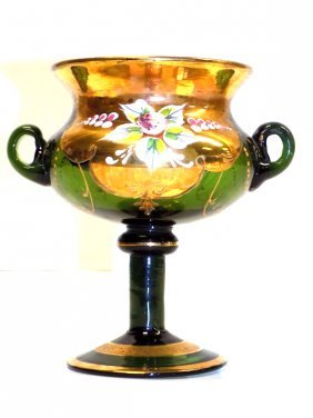 Moser Glass Green Footed Urn Moser Glass Green Footed