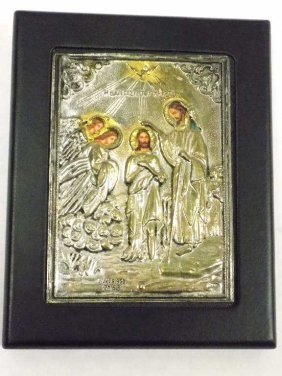 Russian Silver Religious Icon Plaque Russian Silver