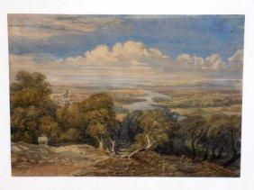 David Cox Junior - River Landscape Watercolor David Cox