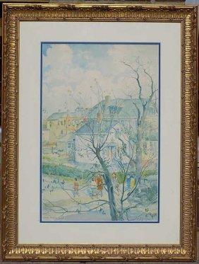 Carle Michel Boog - Rural Landscape Watercolor Carle