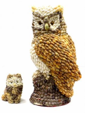 Pair Sailor's Folk Art Sea Shell Owls Pair Sailor Folk