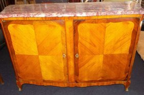 Louis Xv Style Inlaid Marbletop Buffet Cabinet Antique